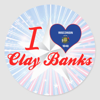 I Love Clay Banks, Wisconsin Round Stickers