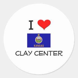 I Love CLAY CENTER Kansas Classic Round Sticker