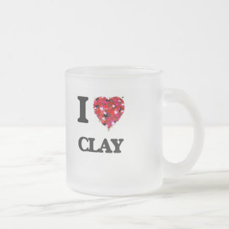 I Love Clay Frosted Glass Coffee Mug