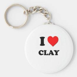 I love Clay Keychain