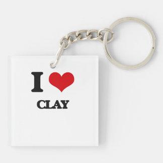 I love Clay Square Acrylic Key Chain