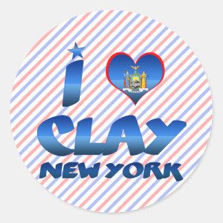 I love Clay, New York Classic Round Sticker