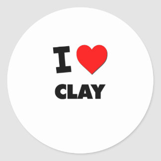 I love Clay Round Stickers