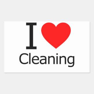 I Love Cleaning Rectangular Sticker