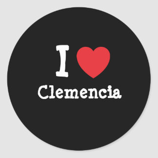 I love Clemencia heart T-Shirt Round Stickers