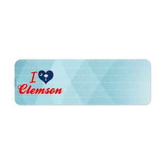 I Love Clemson, South Carolina Label