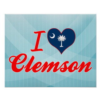 I Love Clemson, South Carolina Poster