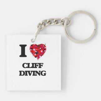 I love Cliff Diving Double-Sided Square Acrylic Keychain