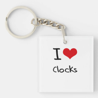 I love Clocks Double-Sided Square Acrylic Keychain