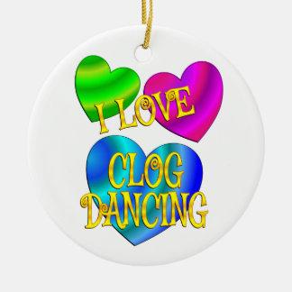 I Love Clog Dancing Ceramic Ornament