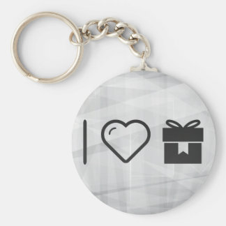 I Love Closed Giftboxes Basic Round Button Keychain