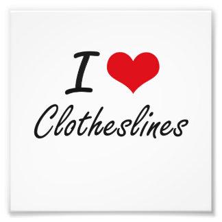 I love Clotheslines Artistic Design Photo Print