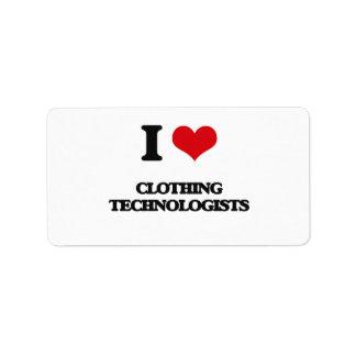 I love Clothing Technologists Address Label