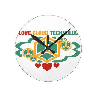 I Love Cloud Technology Round Clock