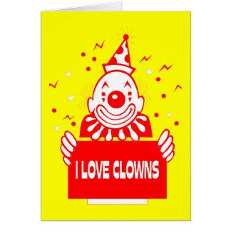 I Love Clowns - Retro Circus Art Card