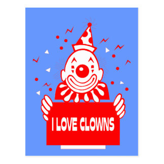 I Love Clowns - Retro Circus Art Postcard