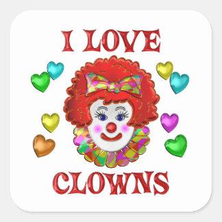 I LOVE CLOWNS SQUARE STICKER
