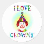 I Love Clowns Stickers