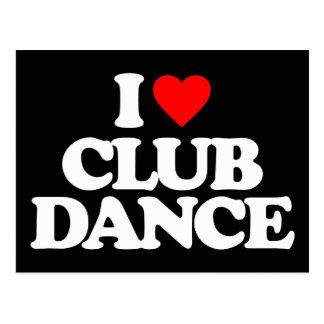 I LOVE CLUB DANCE POSTCARD