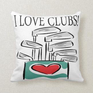 I Love Clubs Throw Pillows