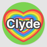 I love Clyde. I love you Clyde. Heart Classic Round Sticker