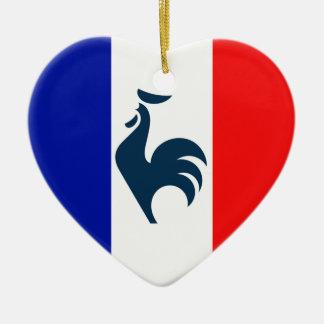 I love cock France flag Double-Sided Heart Ceramic Christmas Ornament