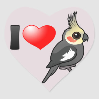 I Love Cockatiels Heart Sticker