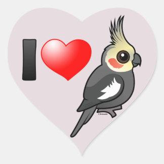 I Love Cockatiels Heart Sticker