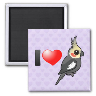 I Love Cockatiels 2 Inch Square Magnet