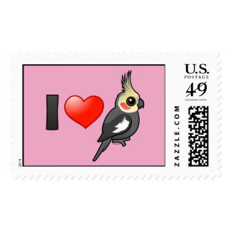 I Love Cockatiels Postage Stamps