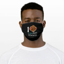 I Love Cocker Spaniel Dog Gift Adult Cloth Face Mask