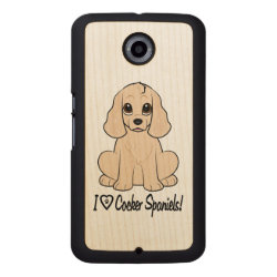 Carved Google Nexus 6 Slim Wood Case with Cocker Spaniel Phone Cases design