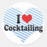 I Love Cocktailing Round Sticker