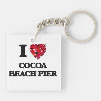 I love Cocoa Beach Pier Florida Double-Sided Square Acrylic Keychain