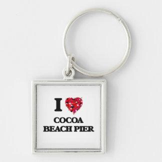 I love Cocoa Beach Pier Florida Silver-Colored Square Keychain