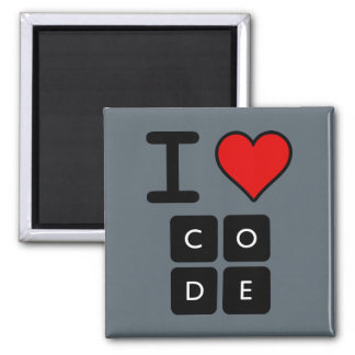 I Love Code 2 Inch Square Magnet