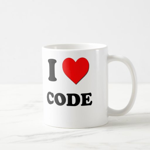 I love Code Classic White Coffee Mug