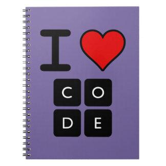 I Love Code Spiral Note Book