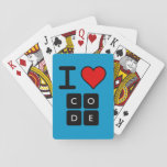 """I Love Code Playing Cards<br><div class=""""desc"""">Show your support for Code.org. Personalize your Code.org merchandise on Zazzle.com! Click the Customize button to insert your own text or to change the background color. Zazzle&#39;s easy to customize products have no minimum order &amp; is custom made after you order.</div>"""