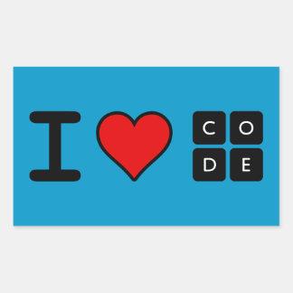 I Love Code Rectangular Sticker
