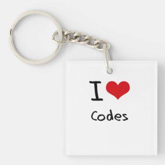 I love Codes Single-Sided Square Acrylic Keychain