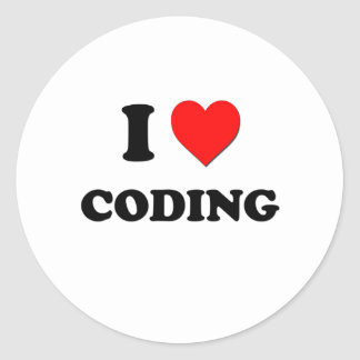 I love Coding Round Stickers