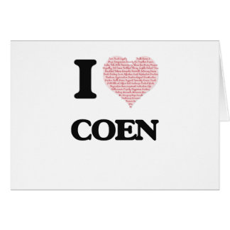 I Love Coen (Heart Made from Love words) Greeting Card