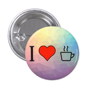 I Love Coffee 1 Inch Round Button