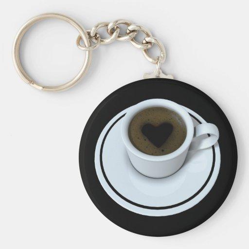 I LOVE coffee Basic Round Button Keychain