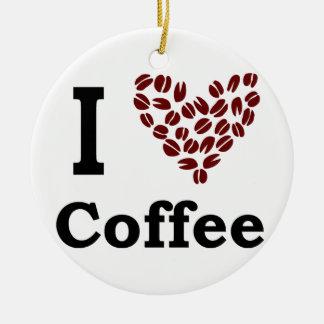 I Love Coffee Ceramic Ornament
