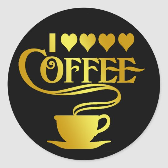 I LOVE COFFEE CLASSIC ROUND STICKER