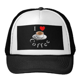 """I Love Coffee"" Coffee Mug & Saucer Trucker Hat"