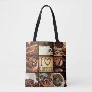 I Love Coffee Collage Tote Bag