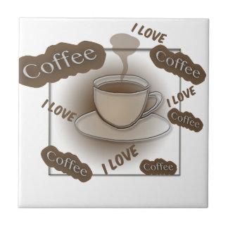I Love Coffee Cup Ceramic Tile
